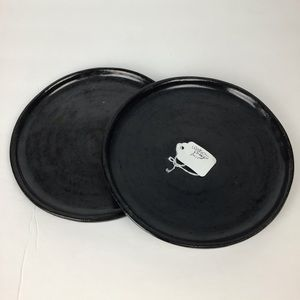 Pair of Watson Pottery pottery plates in black